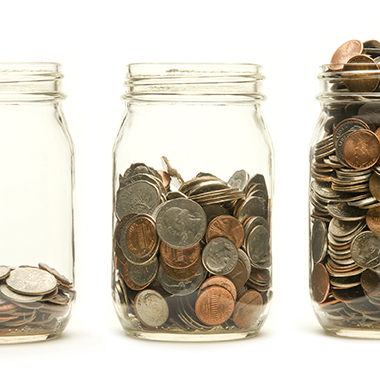 Mason jars with change
