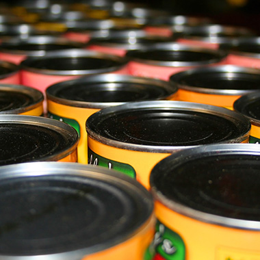 View of canned foods