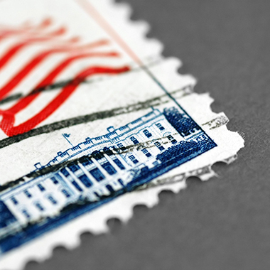 US postage stamp close up