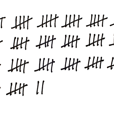 Tally marks on white background
