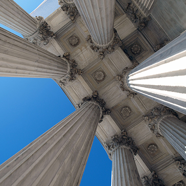 Looking up at columns