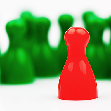 Red and green pawns