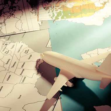 Model airplane & maps