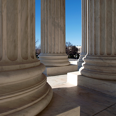 Close up of US supreme court columns