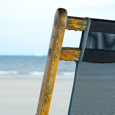 Mesh Beach Chair With Ocean in Background