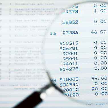 Magnifying glass in Financial Report