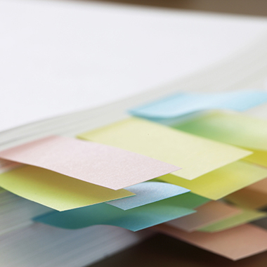 Sticky Notes on Pages in Book