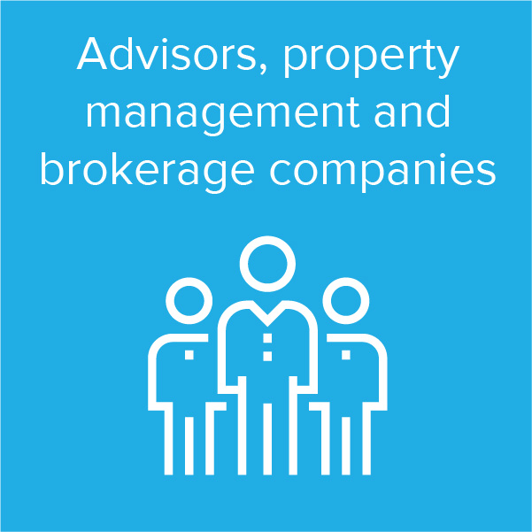 Advisors, property management and brokerage companies
