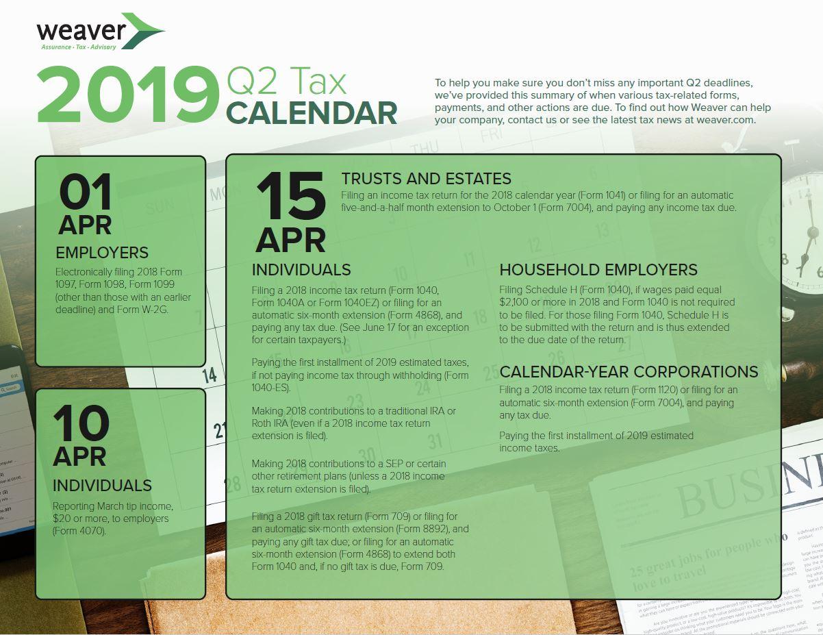 2019 Q2 Tax Deadlines Calendar | Weaver | Assurance, Tax