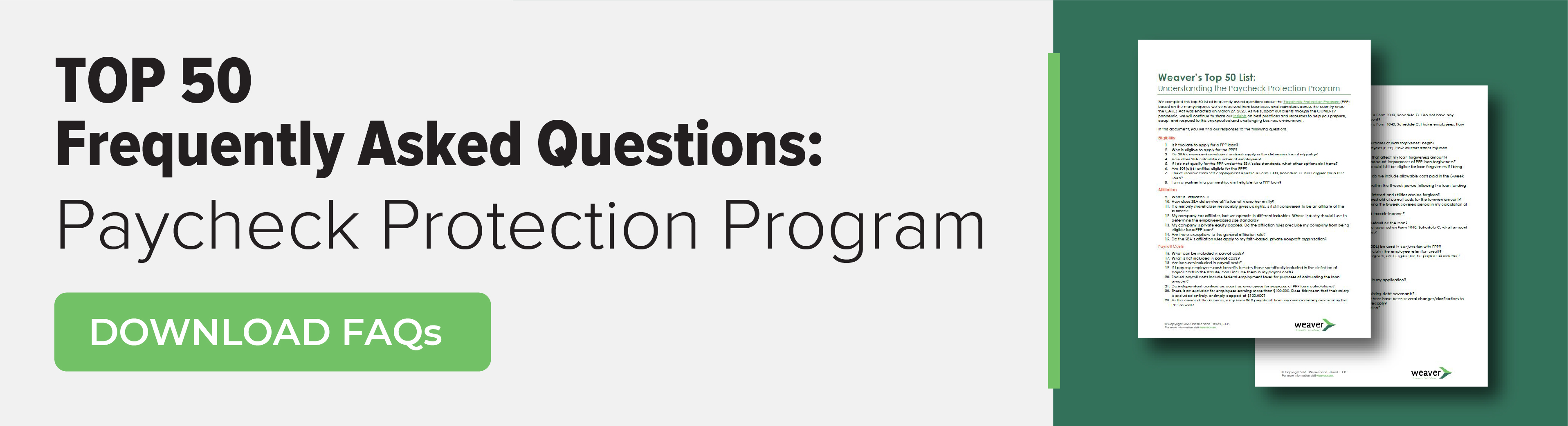 Top 50 Frequently Asked Questions for Paycheck Protection Program