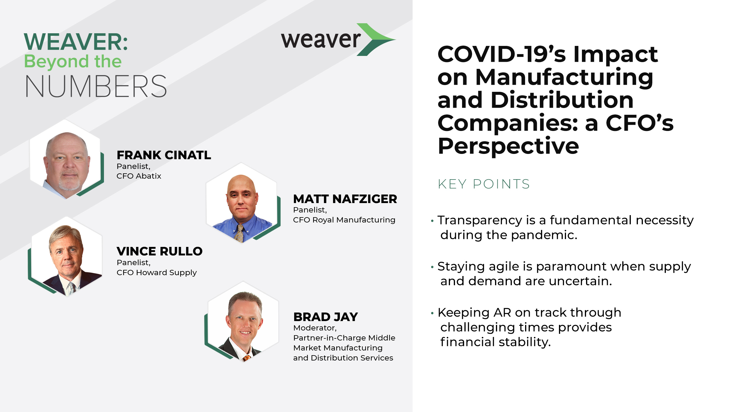 Weaver Beyond the Numbers: COVID-19's Impact on Manufacturing and Distribution Companies: a CFO's Perspective